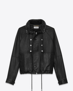 SAINT LAURENT Leather jacket D slouchy parka in black leather f