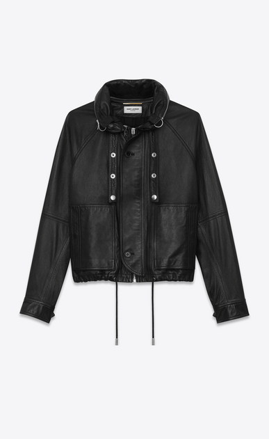 SAINT LAURENT Leather jacket Woman slouchy parka in black leather a_V4