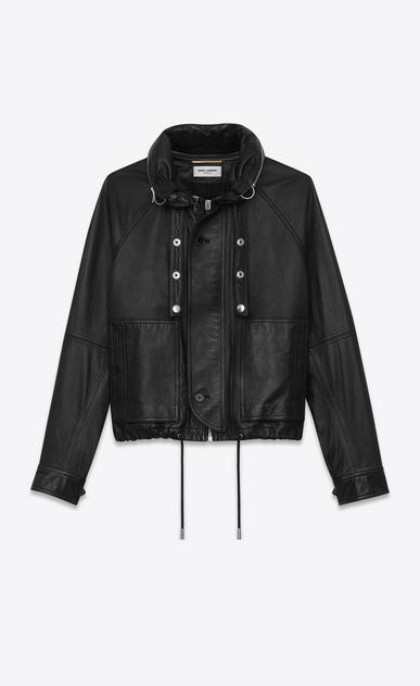 SAINT LAURENT Leather jacket D slouchy parka in black leather v4
