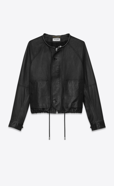 SAINT LAURENT Leather jacket Woman slouchy parka in black leather b_V4