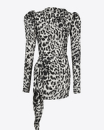 SAINT LAURENT Dresses D Black and Grey Leopard Print Stand-Up Collar Mini Dress f