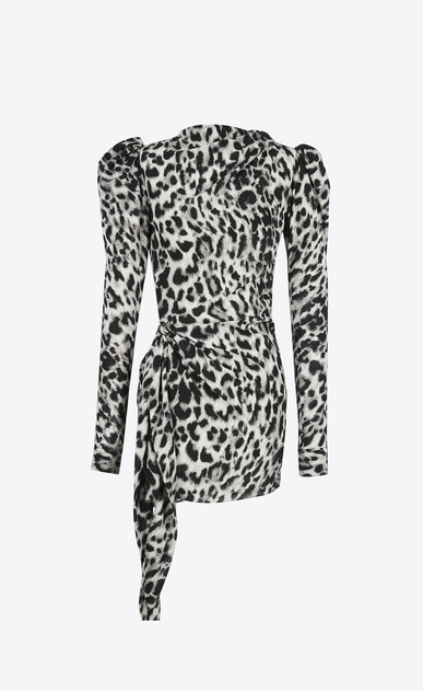 SAINT LAURENT Dresses D leopard print stand-up collar mini dress in black and grey silk crêpe a_V4