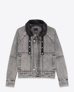 SAINT LAURENT Casual Jackets D short parka in washed grey denim f