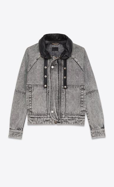 SAINT LAURENT Casual Jackets D short parka in washed grey denim v4