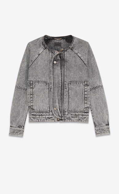 SAINT LAURENT Casual Jackets D short parka in washed grey denim b_V4