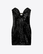 SAINT LAURENT Robes D Mini-robe sweetheart en sequins noirs f