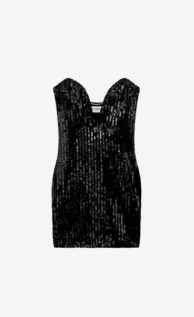SAINT LAURENT Dresses D sweetheart mini dress in black sequins a_V4