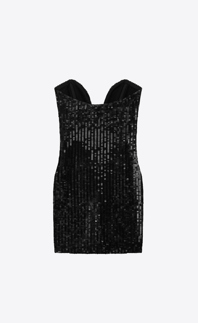 SAINT LAURENT Dresses D sweetheart mini dress in black sequins b_V4