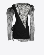 SAINT LAURENT Robes D Mini-robe patchwork en dentelle noire  f