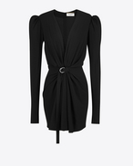 gathered v-neck mini dress in black sablé