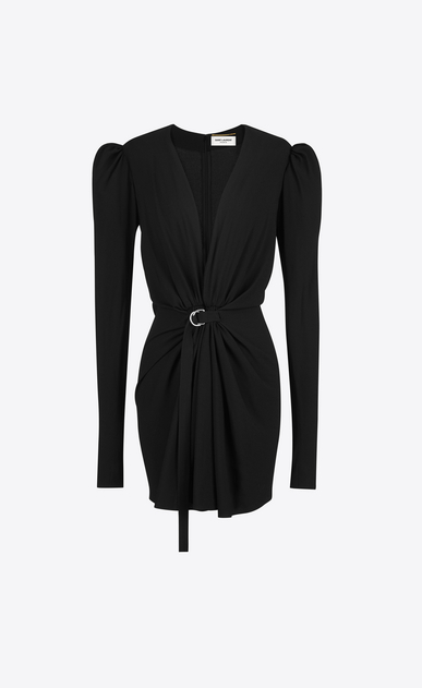 SAINT LAURENT Dresses D gathered v-neck mini dress in black sablé a_V4