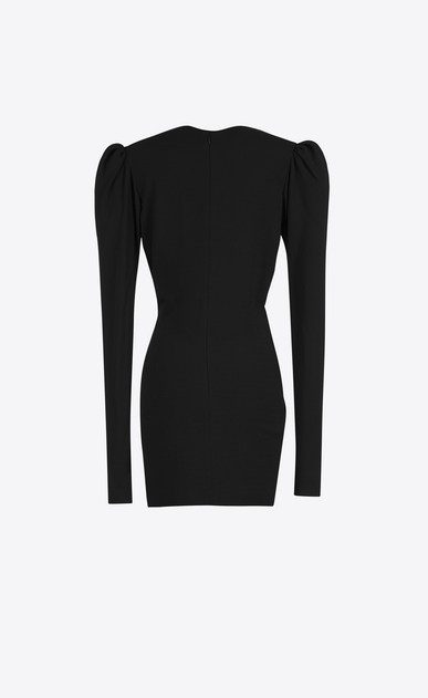 SAINT LAURENT Dresses D gathered v-neck mini dress in black sablé b_V4