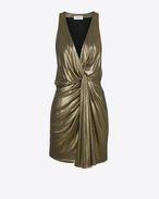 SAINT LAURENT Dresses D twisted mini dress in gold metallic jersey f