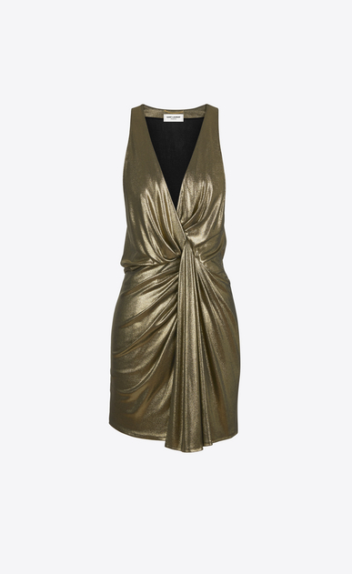SAINT LAURENT Dresses D twisted mini dress in gold metallic jersey a_V4