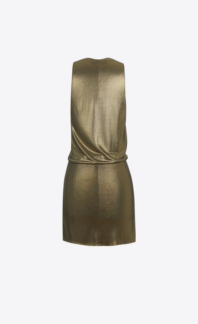 SAINT LAURENT Dresses D twisted mini dress in gold metallic jersey b_V4