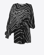 SAINT LAURENT Dresses D Black and White Star Print Draped Side Asymmetrical Mini Dress f