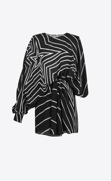 SAINT LAURENT Dresses D star print draped side asymmetrical mini dress in black and white viscose crêpe v4
