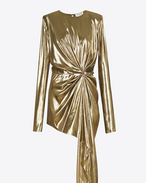 SAINT LAURENT Dresses D asymmetrical draped mini dress in gold lamé silk f