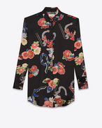 "SAINT LAURENT Dresses D Black and Multicolor Print ""LOVE"" Shirt Dress f"