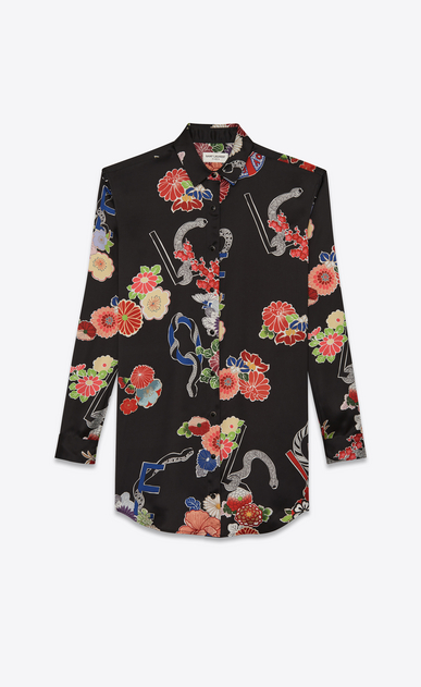 "SAINT LAURENT Dresses D print ""love"" shirt dress in black and multicolor viscose v4"
