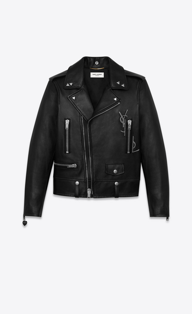 SAINT LAURENT Leather jacket D classic ysl motorcycle jacket in black leather a_V4