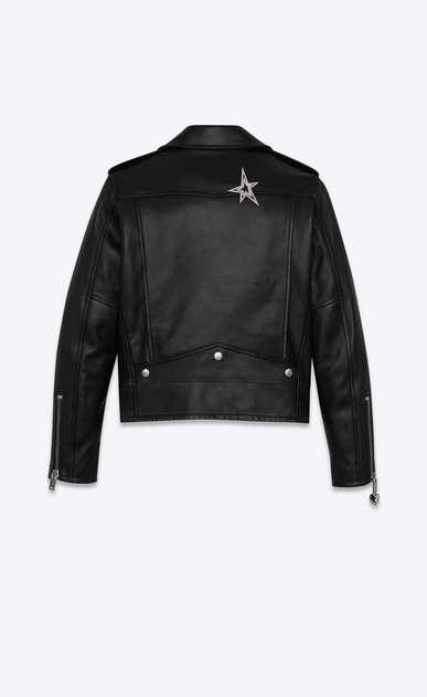 SAINT LAURENT Leather jacket Woman classic ysl motorcycle jacket in black leather b_V4