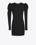 SAINT LAURENT Dresses D cuffed mini dress in black sablé f