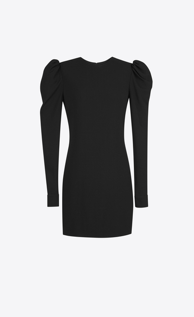 SAINT LAURENT Dresses D cuffed mini dress in black sablé a_V4