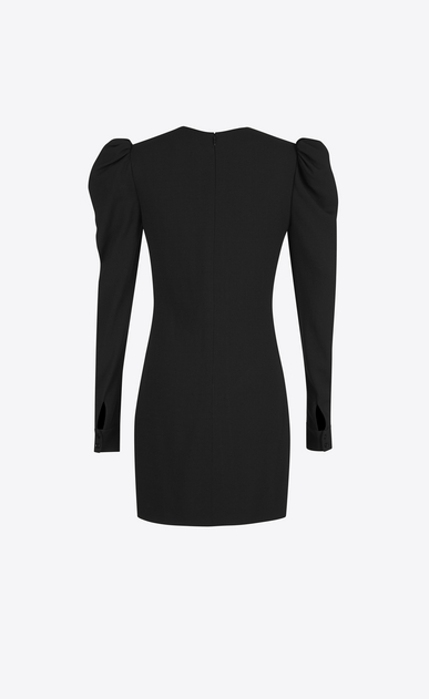SAINT LAURENT Dresses D cuffed mini dress in black sablé b_V4