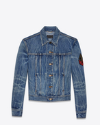 SAINT LAURENT Giacche Casual D Giacca di jeans blu Original Washed Shadow con patch YSL Military f
