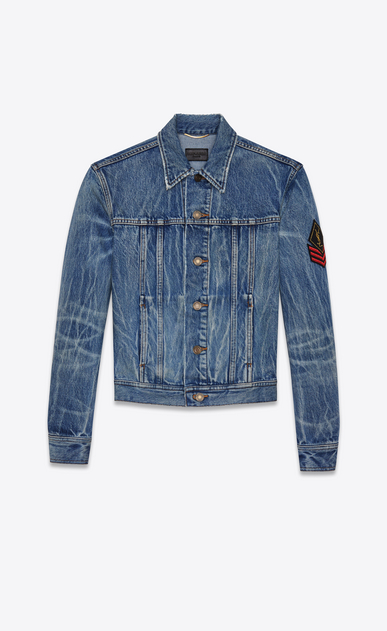 SAINT LAURENT Casual Jacken D Original Jeansjacke mit Army-YSL-Patch in original Blue-Shadow-Waschung a_V4