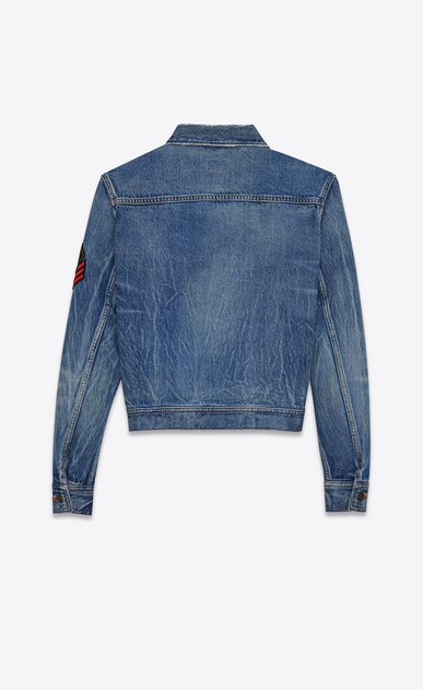 SAINT LAURENT Casual Jacken D Original Jeansjacke mit Army-YSL-Patch in original Blue-Shadow-Waschung b_V4