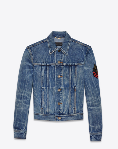 Original Ysl Military Patch Jean Jacket In Washed Blue Shadow Denim