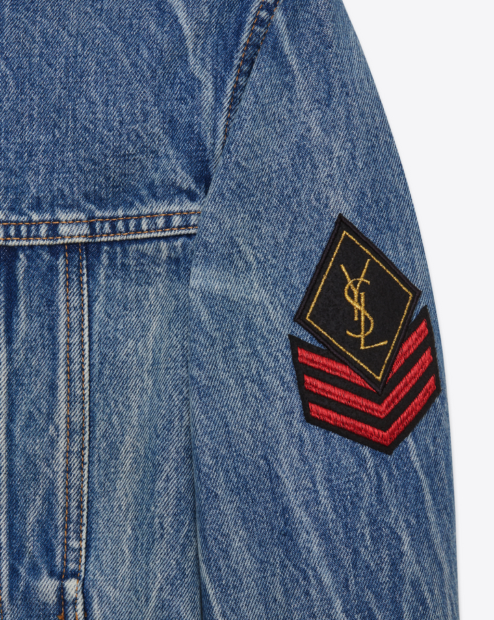 679b0cd5 Saint Laurent Original Ysl Military Patch Jean Jacket In Washed ...