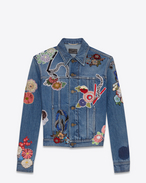 "SAINT LAURENT Casual Jackets D Original Used Vintage 80s Blue ""LOVE"" Embroidery Jean Jacket f"