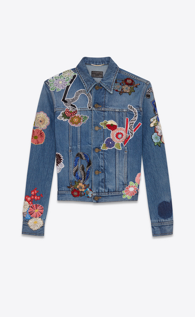 "SAINT LAURENT Casual Jackets D ""love"" embroidery jean jacket in original used vintage 80s blue denim v4"