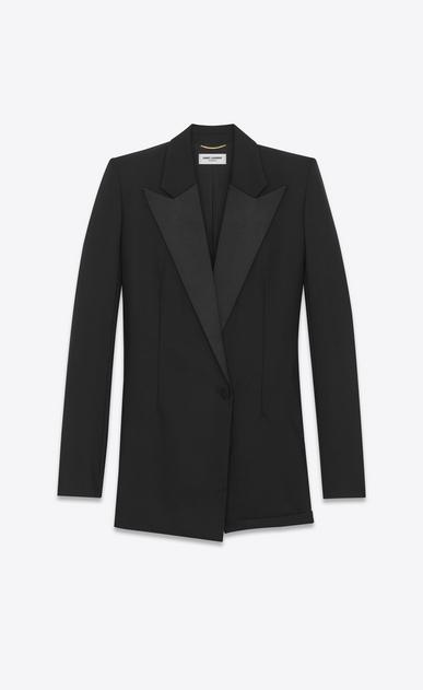 SAINT LAURENT Dresses D le smoking short jumper in black wool a_V4
