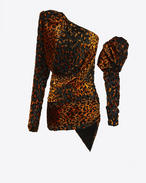 SAINT LAURENT Dresses D leopard asymmetrical mini dress in black and orange velour f