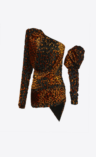SAINT LAURENT Dresses D leopard asymmetrical mini dress in black and orange velour a_V4