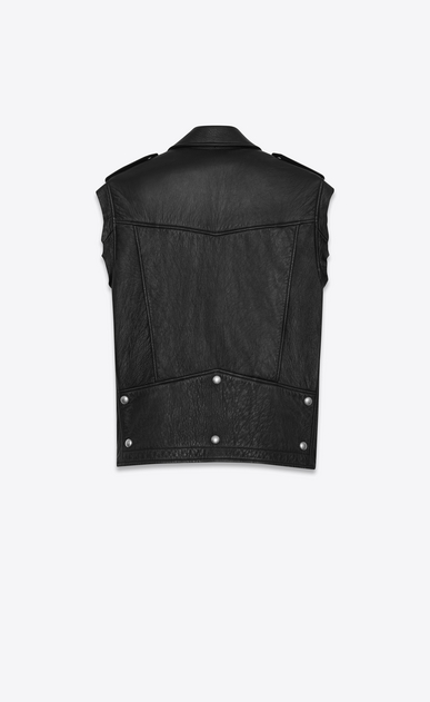 SAINT LAURENT Leather jacket D ysl sleeveless motorcycle jacket in black slouch leather b_V4