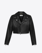 SAINT LAURENT Leather jacket D Cropped Black Motorcycle Jacket f
