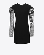 SAINT LAURENT Dresses D contrasting sleeve mini dress in black sablé f
