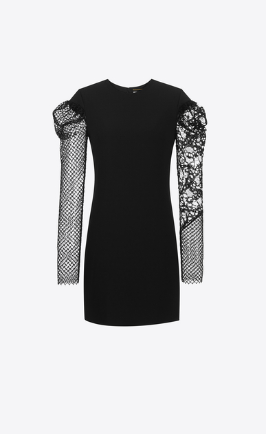 SAINT LAURENT Dresses D contrasting sleeve mini dress in black sablé a_V4