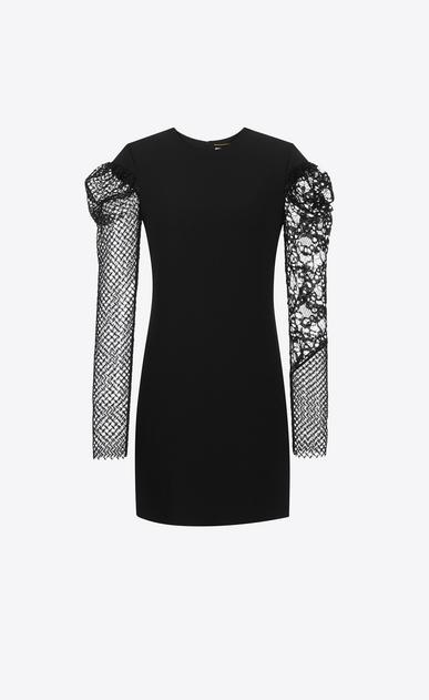 SAINT LAURENT Dresses D contrasting sleeve mini dress in black sablé v4
