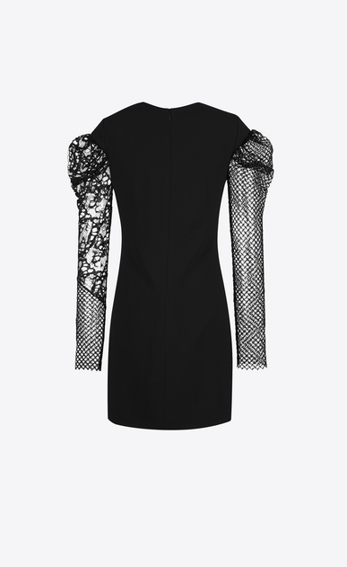SAINT LAURENT Dresses D contrasting sleeve mini dress in black sablé b_V4
