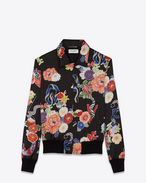 SAINT LAURENT Casual Jackets D Black and Multicolor Printed Teddy LOVE Jacket f