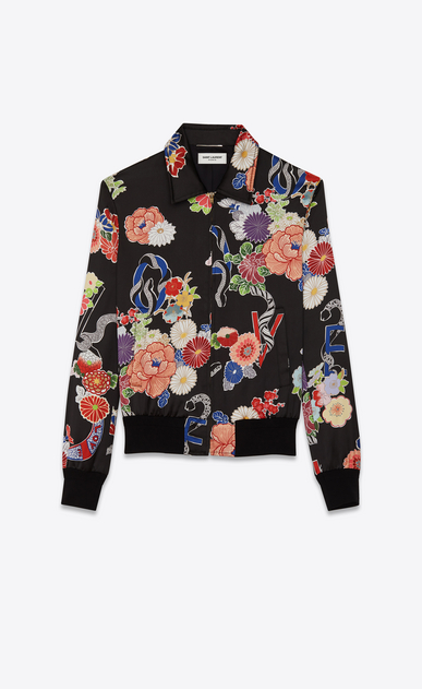 SAINT LAURENT Casual Jackets D printed teddy love jacket in black and multicolor viscose a_V4