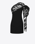 SAINT LAURENT Dresses D black lace one shoulder asymmetrical mini dress f