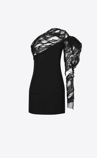SAINT LAURENT Dresses D black lace one shoulder asymmetrical mini dress a_V4