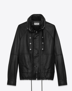 SAINT LAURENT Leather jacket U slouchy parka in black leather f